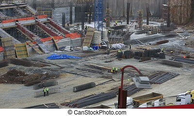 construction zone - stadium construction zone with heavy...