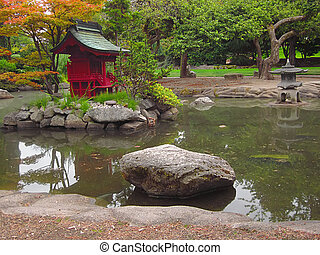 Oriental Garden - A photograph of an Asian style garden...