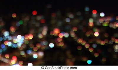 City Lights - Soft focus, Seattle skyline at night, Seattle,...