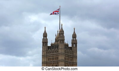 Parliament Tower with Union Jack, London, England