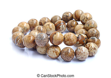 beads closeup isolated on white