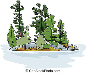 Evergreen Island - Cartoon evergreen trees on a rocky island...