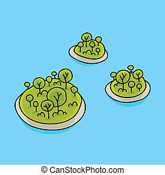 Tiny Islands - Tiny, round cartoon islands surrounded by...