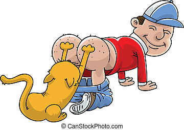 Cat Scratching Itchy Bum - A cartoon man having his itchy...