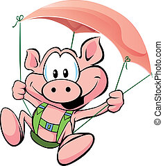 pig flying on the ham