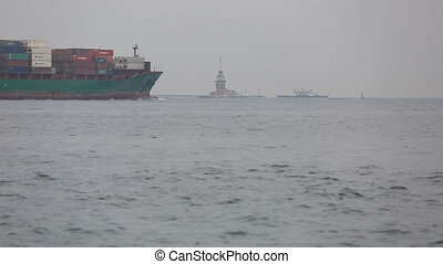 cargo ship - time lapse large cargo ship passing Maiden...