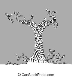 Scaled Line Tree - A stunted, scaled cartoon tree with few...