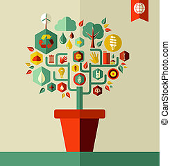 Green Environment tree concept - Environment tree pot...
