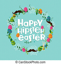 Happy Hipster Easter colorful wreath