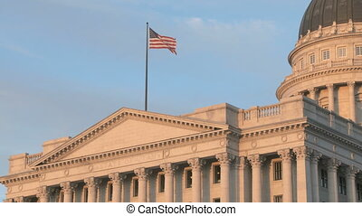Utah State Capital Building with American Flag
