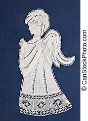 Angel embroidery - Antique angel embroidery on blue...
