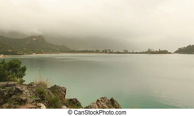 blue lagoon and beach at dead sea - famous national park...