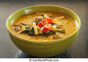Chicken Curry - Green curry with chicken, bamboo shoots as...