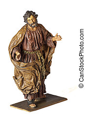 Saint Joseph papier-mache statuette isolated on white