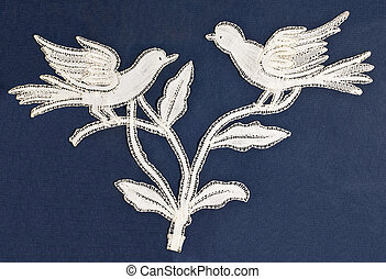 Birds embroidery - Antique birds embroidery on blue...