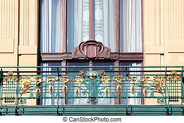 Prague Art Nouveau in wrought iron and wood