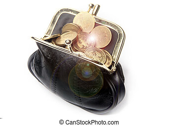 chinks in a leather purse - metallic rouble and black...