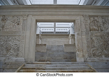 Ara Pacis Augustae - ancient peace altar in Rome with...