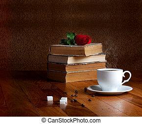 caliente, taza, fresco, café, de madera, tabla, Pila,...