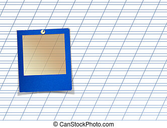 Blue slide with pin for photos on white abstract background