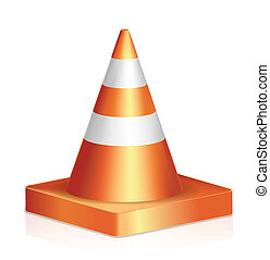 Traffic cone - Vector illustration of traffic cone isolated...