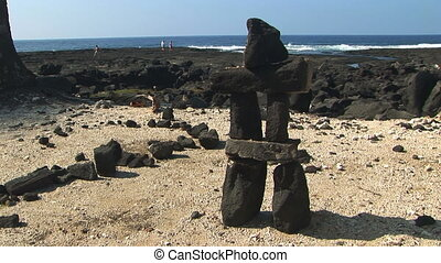 Balanced Rock - Lava rock cairn, on the beach at Pu\'uhonua...
