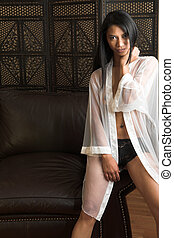 Woman in Babydoll - Sexy adult woman in white babydoll and...