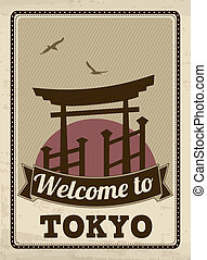 Welcome to Tokyo retro poster - Welcome to Tokyo in vintage...