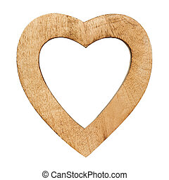 wood heart - wooden heart with empty spaces isolated on...