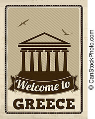 Welcome to Greece retro poster