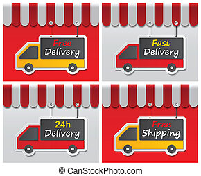 shopfront delivery signs - paper delivery signs on red and...