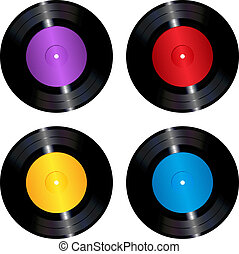 Vinyl records set - The collection of four colorful vinyl...