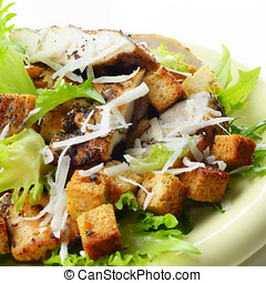 Caesar chicken salad on white background - Caesar chicken...