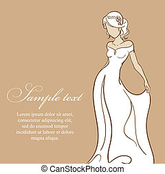 Beautiful bride in white dress. Wedding vector illustration