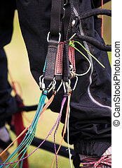 Paraglider harness - Close-up of a paraglider harness and...
