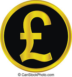 Gold pound symbol button on white background
