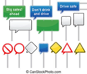 speech bubble traffic signs - set of various isolated speech...
