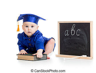 Baby in academician clothes  with book at chalkboard
