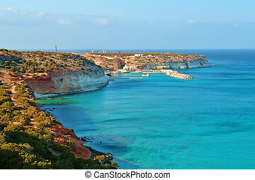 Libia - Natural landscape, the coast of Libya in North...