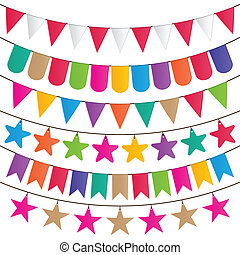 party flag - bunting and garland decoration vector set.