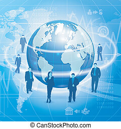 Global Business Concept with Earth, Business Silhouettes and...