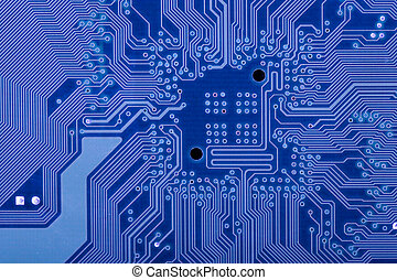 electronic circuit - deep blu background with motherboards...