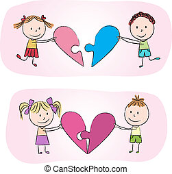Kids with heart puzzle