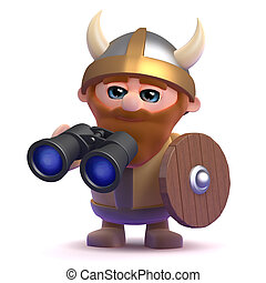 3d Viking looking through binoculars - 3d render of a viking...