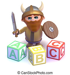 3d Viking reading lesson - 3d render of a viking with some...