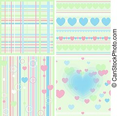 Set floral seamless background vector