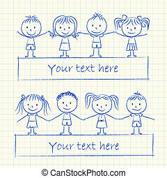 Kids holding hands - Illustration of kids holding hands -...