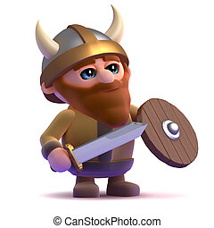 3d Viking stands ready - 3d render of a viking standing...