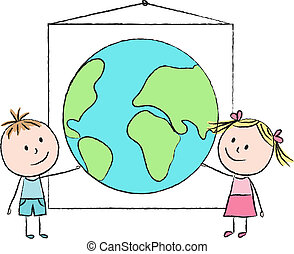 Kids with planet