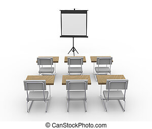 3d empty conference room - 3d rendering of tripod projector...